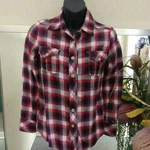 Pink XS Flannel Button Down Shirt